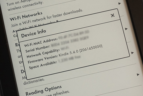 Verze firmware - Kindle Paperwhite