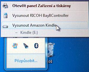 Odpojení čtečky Kindle z PC