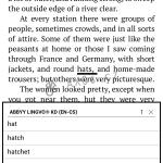 Slovník - anglicko (výkladový) - český. Zobrazen seznam slov
