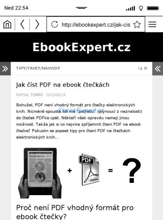 PocketBook Ultra - webový prohlížeč
