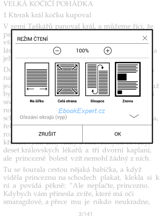 PocketBook Ultra - režimy PDF