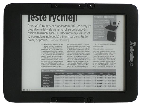 eReading 4 Touch Light, časopis v PDF, režim na šířku displeje
