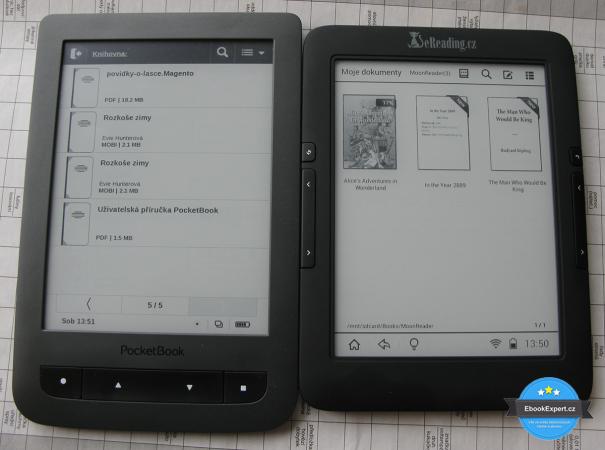 PocketBook Touch Lux 2 vs eReading 4 Touch Light (vypnuté nasvícení, šero)