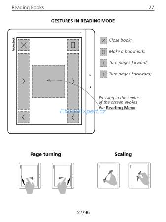 PocketBook Inkpad - rozdělení dotykových zón v otevřené knize