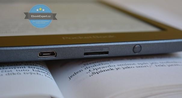 PocketBook Sense - microUSB konektor, slot na paměťovou kartu, on/off tlačítko