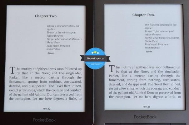 Srovnání PocketBook Sense (vlevo) a PocketBook Touch Lux 2 (vpravo)