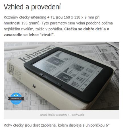 Původní fotografie čtečky eReading.cz