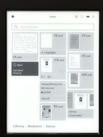 Kobo Aura H2O - hlavní obrazovka
