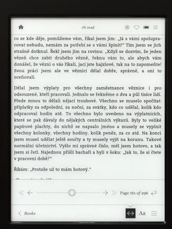 Menu přes otevřenou e-knihu