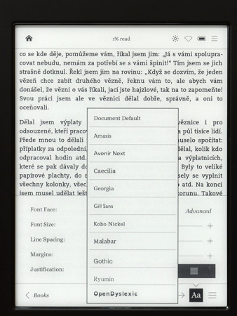 Kobo Aura H2O - ukázka fontů