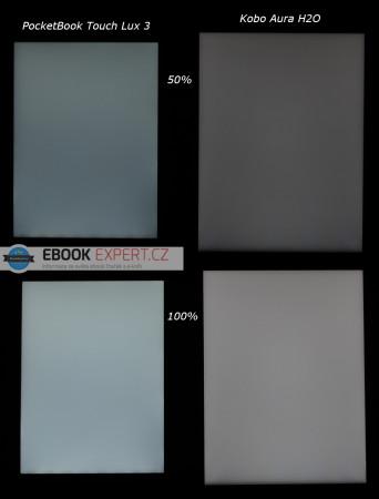 Podsvícení ve tmě - PocketBook Touch Lux 3 vs Kobo Aura H2O